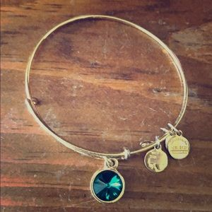 Alex and Ani: Emerald bracelet in gold